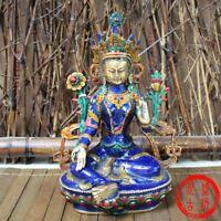 21cm Tibetan Buddhism Cloisonne Green Tara Statue Noble Decor Buddha goddess