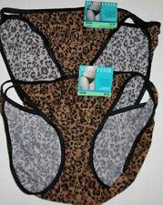 2 Vanity Fair Bikini Panty Set Illumination 18108 Black Brown Leopard 8 XL NWT