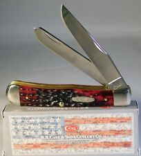 Case XX Crimson Red Peach Seed Jigged Bone Trapper Knife ~NEW