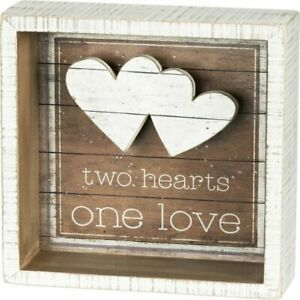 Primitives by Kathy Reverse Box Sign - Two Hearts One Love Home Decor