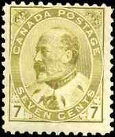 Canada #92 mint F OG tiny HR 1903 King Edward VII 7c olive bistre CV$160.00