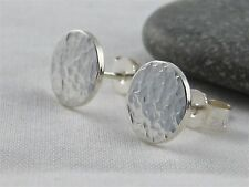 Sterling Silver 925 Sparkly Hammered Round Disc Ear Stud Earrings 8mm Handmade