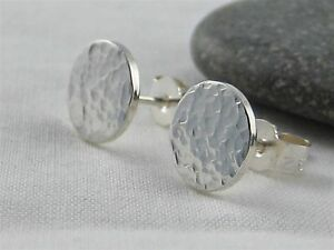 Sterling Silver Sparkly Hammered Round Disc Ear Stud Earrings 8mm Handmade In UK