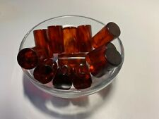 12 Bakelite 28 x 15mm Translucent Honey Amber/Black Swirled Rods No Holes