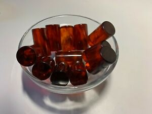 12 Bakelite 28 x 15mm Translucent Honey Amber/Black Swirled Rods No Holes