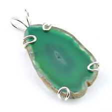 Genuine Huge Handmade Green Agate Slap Geode Gemstone Silver Necklace Pendants