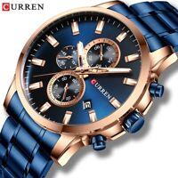 CURREN Luxus Herren Edelstahl Chronograph Kalender Stahluhren Quarz-Armbanduhr