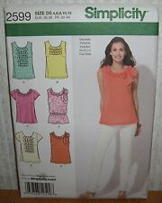 Womens/Misses Tops With Trim Sewing Pattern/Simplicity 2599/SZ 4-12/UCN