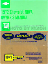 1972 Chevy Nova and SS Owners Manual with Envelope 72 Chevrolet Owner Guide Book