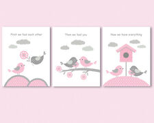 3 prints set, art for girl nursery, First we had each other quote, pink and grey