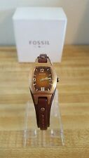 Women's Fossil Marjorie JR-9760 Skinny Brown Leather Strap Watch