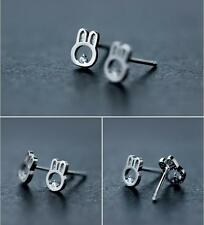 Solid S925 Sterling Silver Cute Small Smooth Rabbit Bunny CZ Stud Earrings Gift