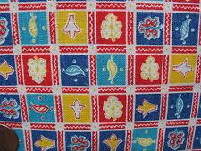 One Vintage Feedsack Postage Stamp Grid Colors! Pristine! 37x43
