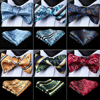 Floral Paisley Blue Men's Silk Tie Self Bow Tie Handkerchief Set Wedding Party