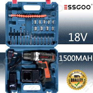 Cordless Drills 18V Driver Screwdriver DIY Kit Set Combi Li-Ion Battery Driver
