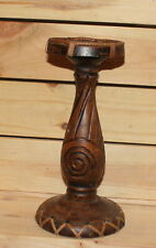 Vintage hand carving wood candle holder