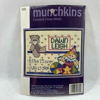 Munchkins Mini Counted Cross Stitch Kit 5x7 Baby's Birth Record Jack In The Box