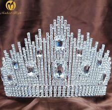 Pageant Large Crown Tiara Austrian Rhinestone Diadem Bride Wedding Hair Jewelry