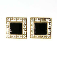 14k Solid Yellow Gold Greek Design Square Onyx Earrings FREE Worldwide Shipping.