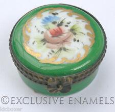 Limoges Vintage Peint Main Flowers With Green Border China Trinket Box