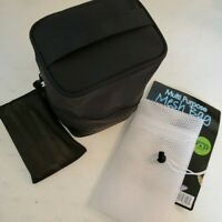 """NEW Small Toiletry Bag 8""""x6""""x5"""" With Mesh Laundry Bag Black"""