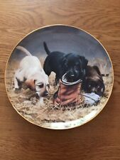 Franklin Mint Heirloom Labrador Puppies 'Three to Boot' Decorative Dog Plate