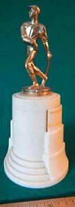 """Vtg 40s 50s Bronze 7"""" BASEBALL TROPHY Swinging Batter Retro Deco Plastic base"""