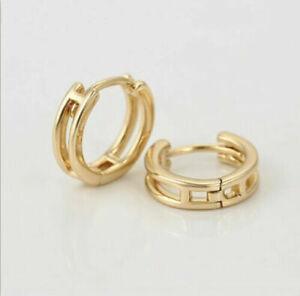 SALE 9ct 9K Gold Filled Ladies Prom 14mm Hoop Earrings Xmas Birthday