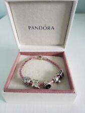 Pandora Genuine  pink leather bracelet 19cm  and 5 charms