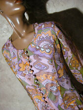 CHIC VINTAGE ROBE SOIE 1960 TRUE VTG SILK DRESS 60s MOD PSYCHEDELIC  ( 38/40 )