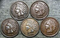 1895 1896 1897 1898 1908 Indian Cent Penny  --- Nice Lot --- #D438