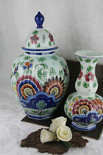 Antique pair Delft pottery VASES set polychrome coloured marked