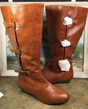 brown knee high boots 9.5W Faux Leather Gold Buckle Wedge 35 3488 0 Comfort View