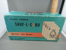SHUF-L-CARD BATTERY POWERED AUTOMATIC PLAYING CARD SHUFFLER W/ORIGINAL BOX, VGC