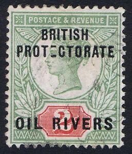 Oil Rivers 1892 2d Grey-Green/Carmine SG3 DEFECTIVE E Variety Opobo River RARE