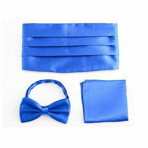 Men Satin Solid Color Bow Tie Cummerbund Handkerchief Wedding Party Prom Set