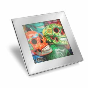 Silver Glass Coaster - Mexican Sugar Skulls Day of the Dead  #21872