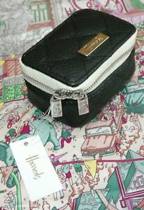 Harrods Travel Jewellery Case /  Box Black Mini Travel Pot Zip Round - Genuine