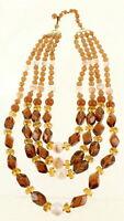 """Vintage Smoky Topaz Opalescent Art Glass Beads 4 Strand Necklace W. Germany 20"""""""