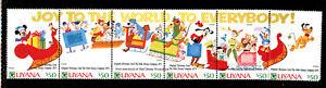 GUYANA 2479, 1991 DISNEY (CHRISTMAS CARDS), STRIP OF 6, FOLDED, MNH (GUY016)