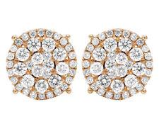 Men's Ladies 14K Rose Gold Real Diamond Cluster Flower Studs Earrings 2 CT 12MM