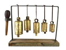 Vintage Primitive Bell Stand 5 Hanging Steel Bells Wood Base Clappers & Hammer