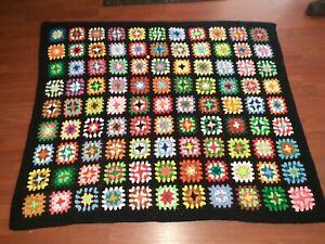 "Vintage Black Crochet Afghan Lap Throw Blanket 53"" x 42"" Granny Square"
