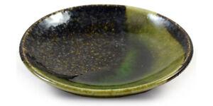 Small Dish for Sushi etc - Japanese Ceramic Iridescent Green Glazed Plate