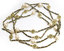 CHANEL Leather Pearl Chain Necklace 80 inches long Vintage w/BOX #2140