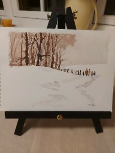 Original water colour of snow scene signed Spencer