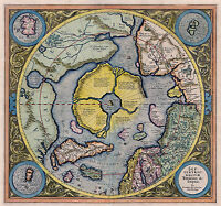 1595 Flat Earth Map North Pole Septentrionalium Terrarum Art Poster Globe Mode