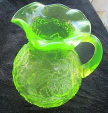 MOSSER VASELINE GLASS FLORAL PATTERN LARGE PITCHER WITH ORIGINAL LABEL