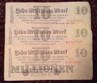 Lot Of 3 X German Banknotes. 10 Million Mark. Dated 1923. Germany.