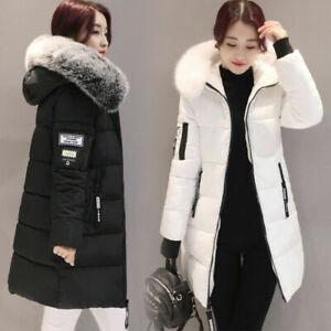 Womens Long Fur Trimmed Hooded Padded Puffer Parka Ladies Winter Jacket Coat